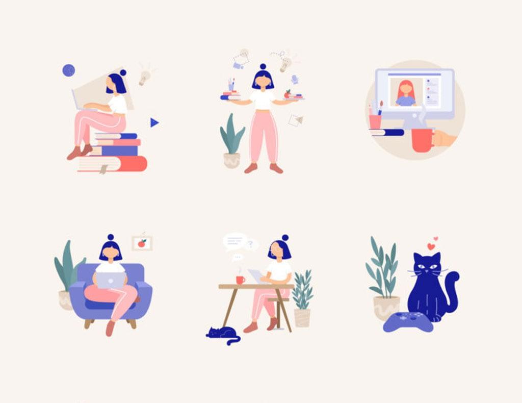 25+ Free Remote Work Illustrations