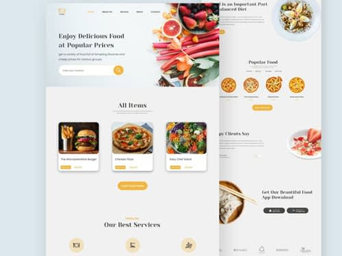 Food Restaurant Landing Page Free Download