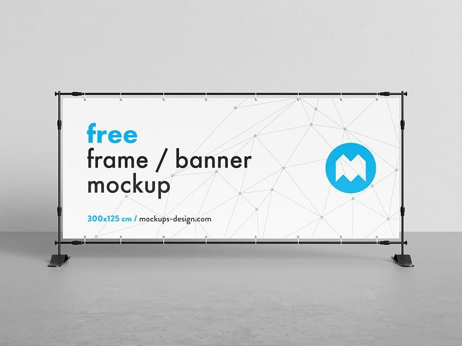Free banner frame / stand mockup / 300 x 125cm
