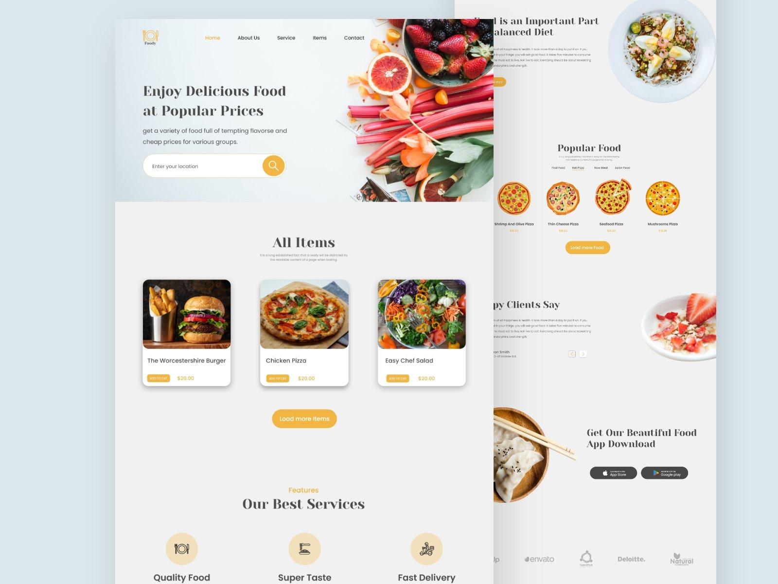 Food Restaurant Landing Page Free Download