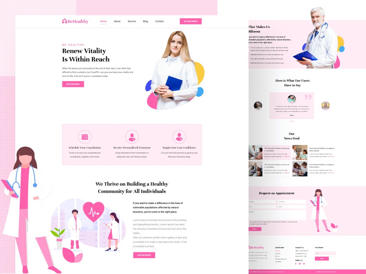 Be Healthy Medical Website Landing Page Free Download