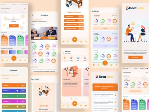 Interviewing Mobile App Design Freebie