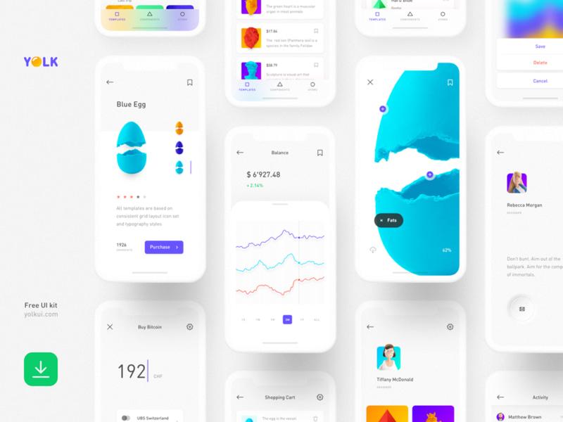 Yolk Free iOS UI Kit Design System for Sketch