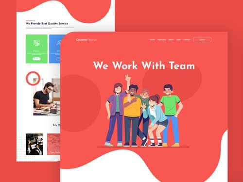 We work with team landing page free download