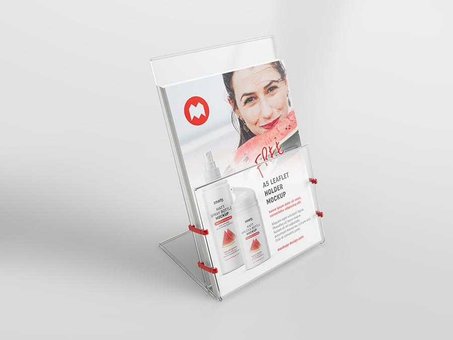 Free transparent leaflet holder mockup / A5