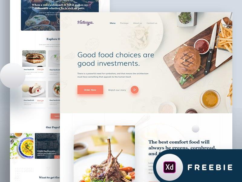 Food Landing page design free download