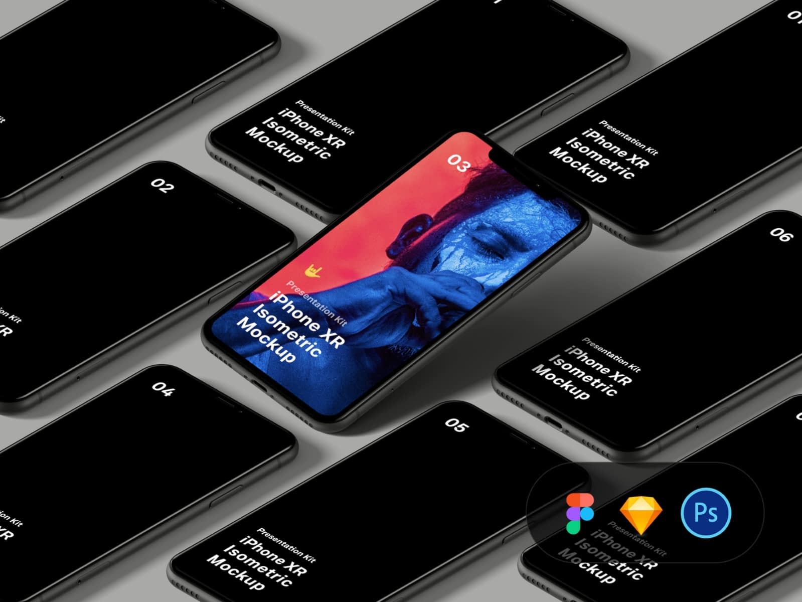 iPhone XR Isometric Mockup Free Download