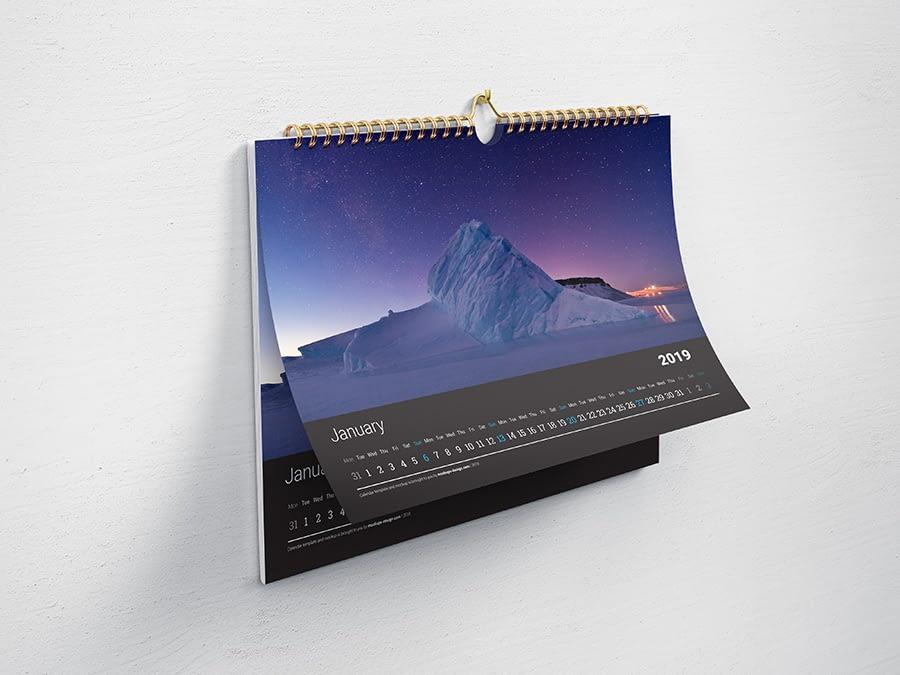 Free horizontal wall calendar mockup