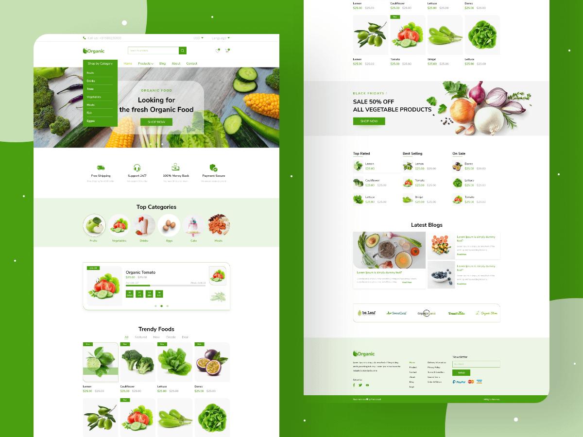 Organic Food Web UI Kit Free Download