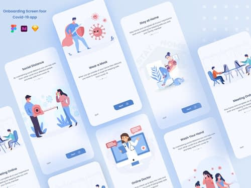 Onboarding Screen for Covid-19 App Freebie