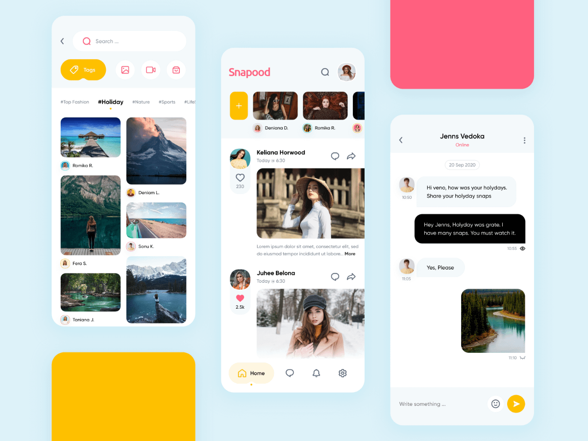 Minimal social media app ui design