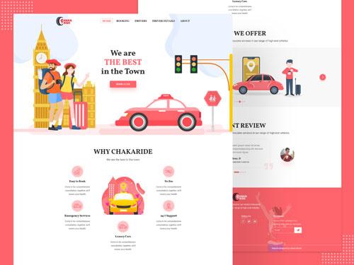 Chaka Ride Web UI Design Freebie