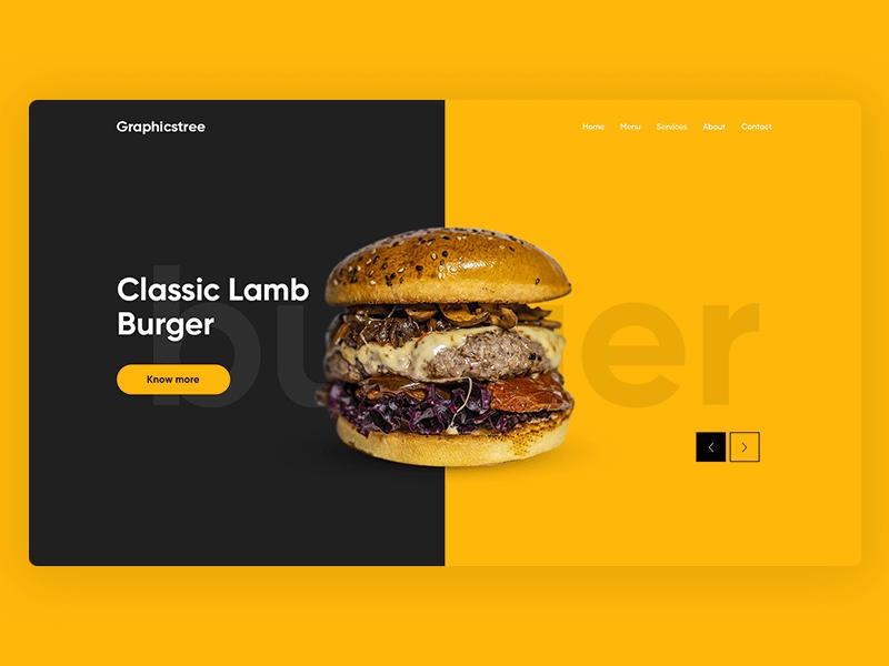Burger Landing Page Design for Photoshop